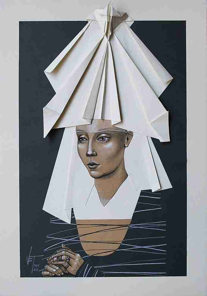 Vania Eleettra Tam Origami Clitoridei falena 2016 70x50 cm tecnica mista su carta incollata su tela